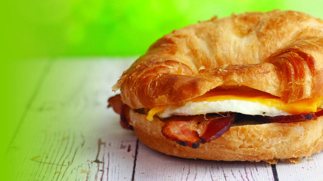 Bacon, Egg, and Cheese on a Croissant Breakfast Sandwich