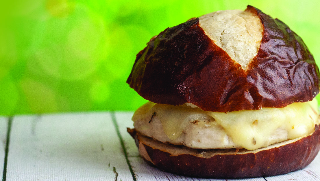 Grilled Chicken Sandwich with Pepper Jack or Swiss Cheese on a Pretzel Bun
